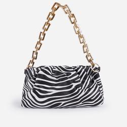 Martha Chain Detail Pouch Bag In Zebra Print Faux Leather