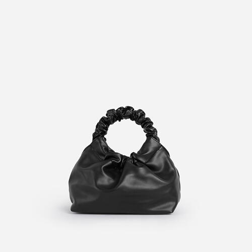 Willow Ruched Handle Gathered Bag In Black Faux Leather