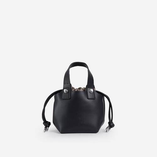 Lucie Cross Body Bucket Bag In Black Faux Leather