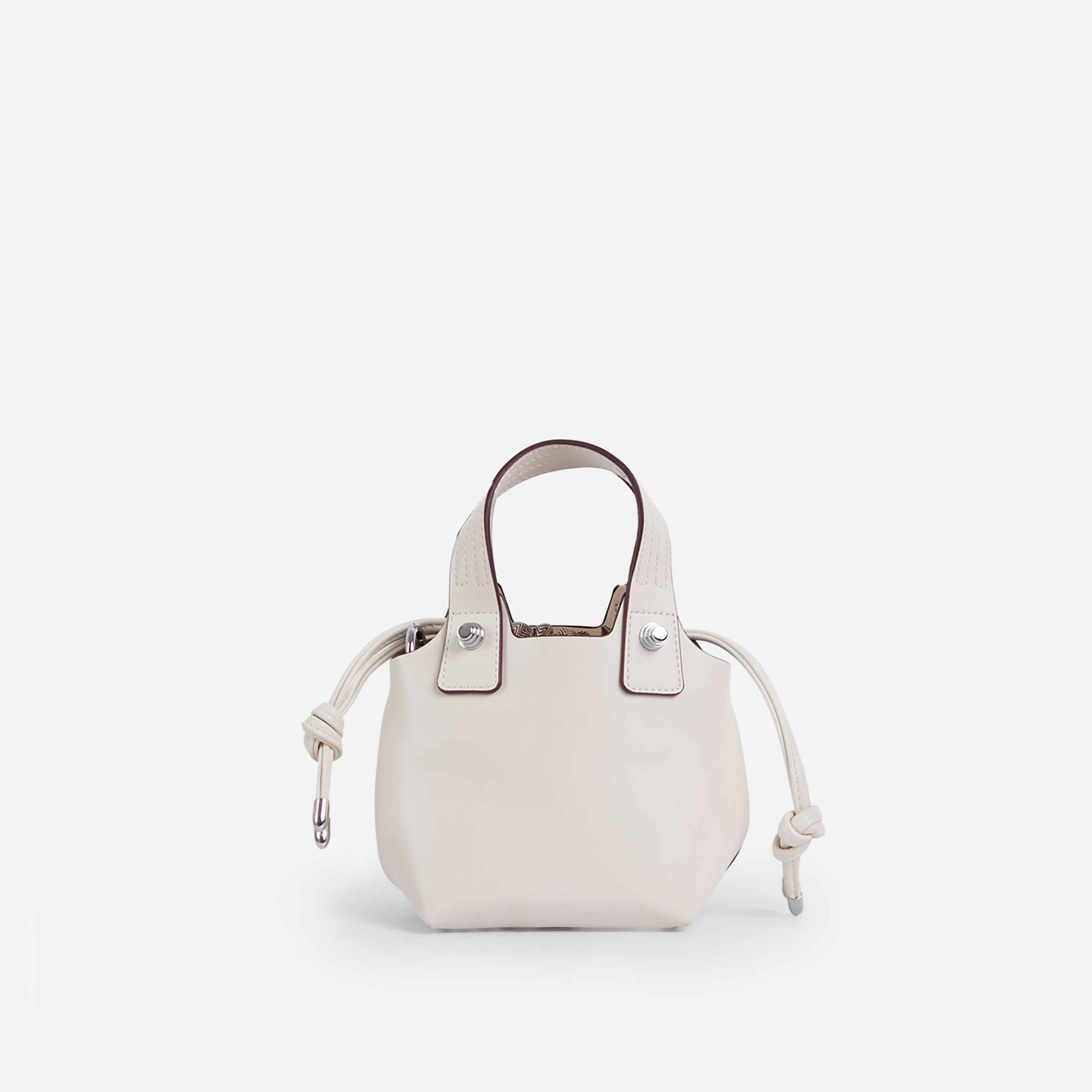 Lucie Cross Body Bucket Bag In Nude Faux Leather