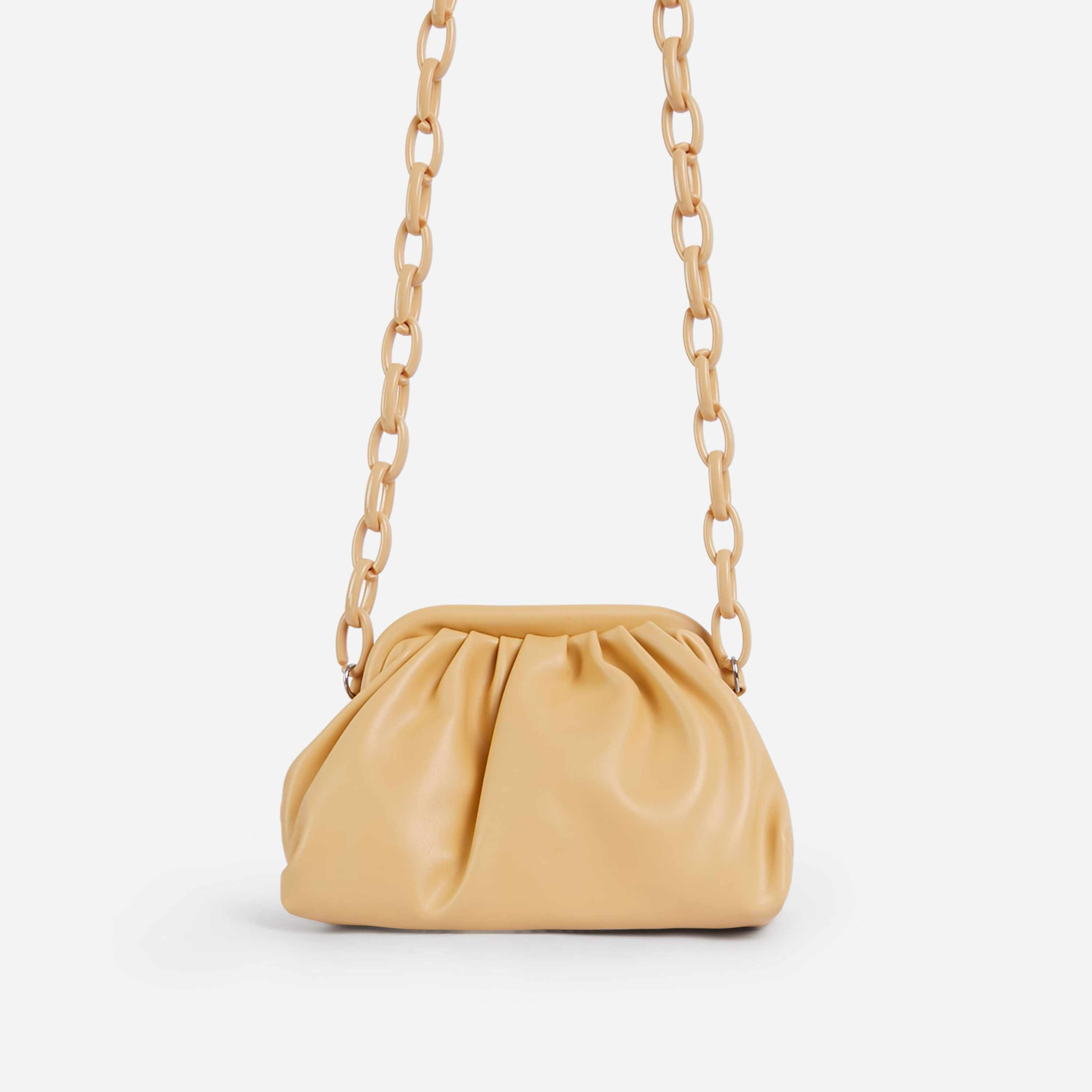 Jaden Coloured Chain Pouch Bag In Yellow Faux Leather