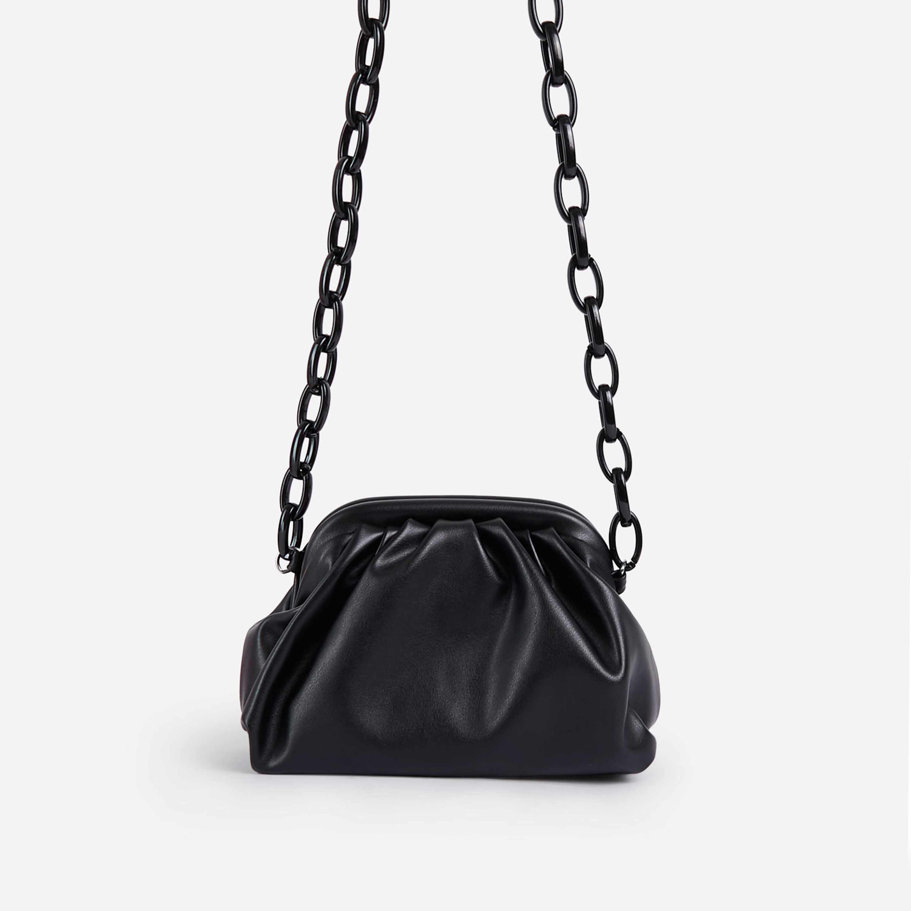 Jaden Coloured Chain Pouch Bag In Black Faux Leather