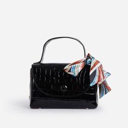 Kylie Ribbon Detail Mini Bag In Black Croc Print Faux Leather
