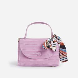 Kylie Ribbon Detail Mini Bag In Lilac Croc Print Faux Leather