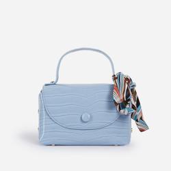 Kylie Ribbon Detail Mini Bag In Blue Croc Print Faux Leather