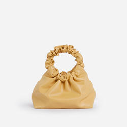 Willow Ruched Handle Gathered Bag In Yellow Faux Leather
