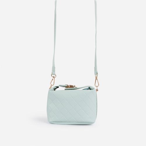 Tiger Lock Detail Boxy Mini Bag In Mint Faux Leather