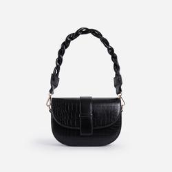 Kris Woven Handle Saddle Bag In Black Croc Print Faux Leather