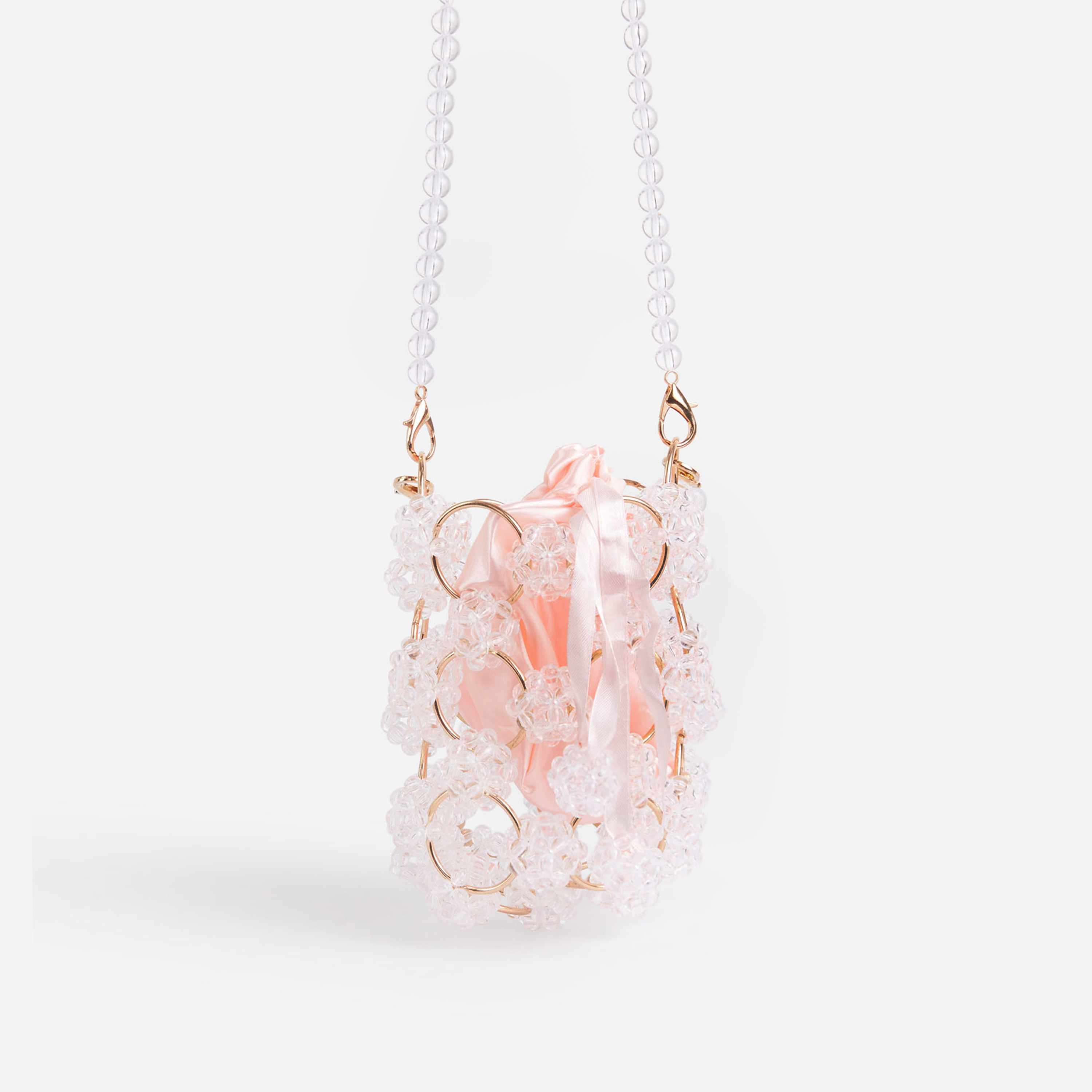 Mollie Floral Acrylic Beaded Grab Bag In Clear