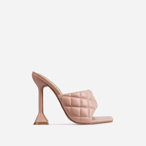 Butter Quilted Square Peep Toe Sculptured Heel Mule In Nude Faux Leather