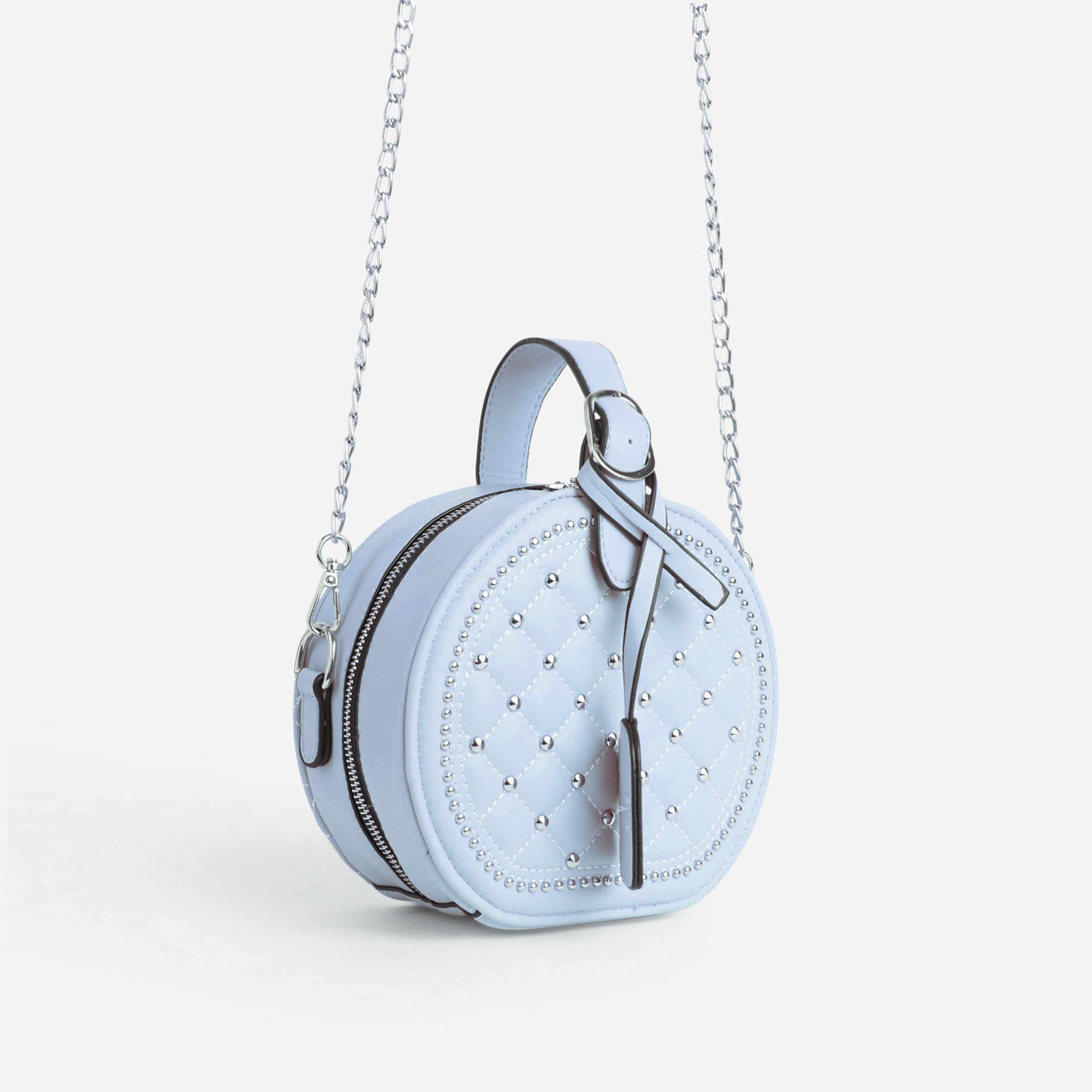 Shellie Quilted Circle Cross Body Bag In Blue Faux Leather