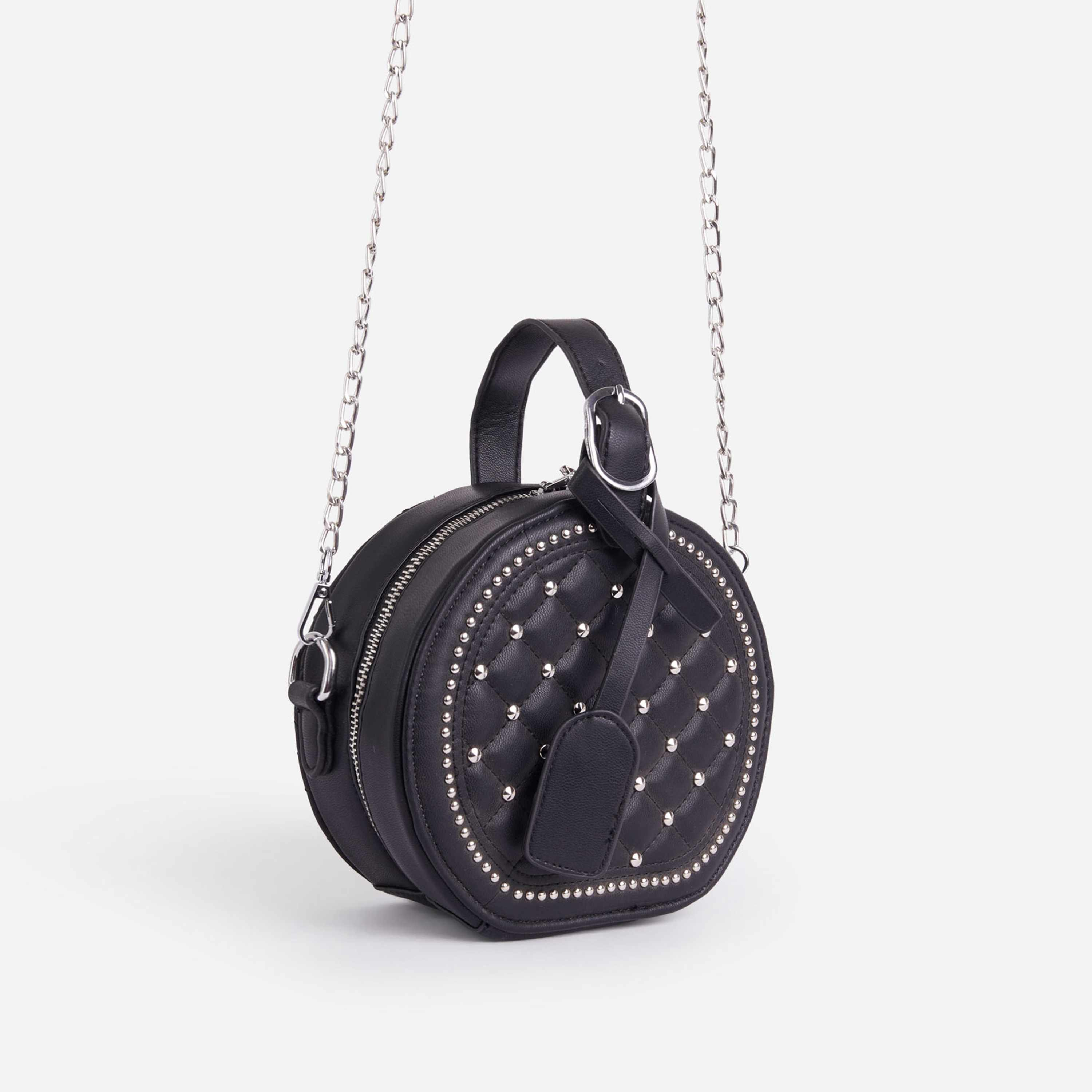 Shellie Quilted Circle Cross Body Bag In Black Faux Leather