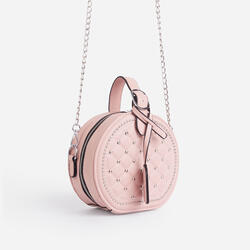 Shellie Quilted Circle Cross Body Bag In Pink Faux Leather