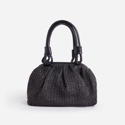 Beach Woven Grab Bag In Black