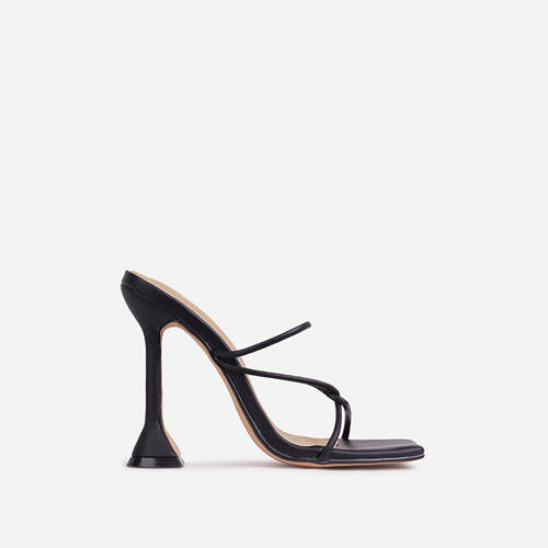 Knockout Strappy Square Toe Sculptured Heel Mule In Black Faux Leather