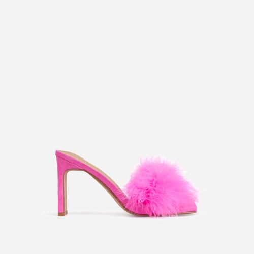Honeymoon Fluffy Peep Toe Thin Block Heel Mule In Fuchsia Faux Suede