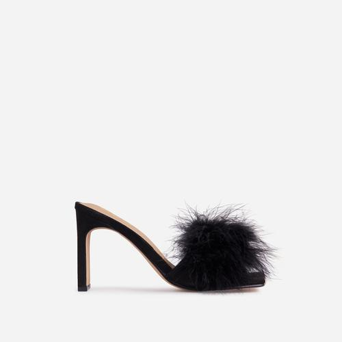 Honeymoon Fluffy Peep Toe Thin Block Heel Mule In Black Faux Suede