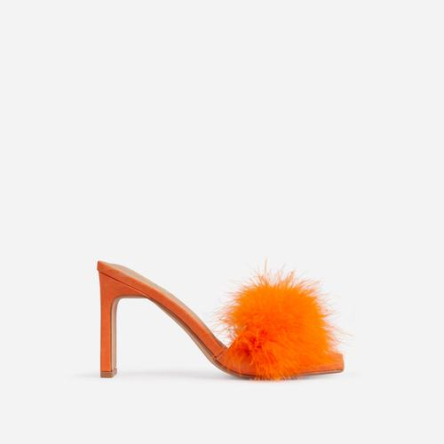 Honeymoon Fluffy Peep Toe Thin Block Heel Mule In Orange Faux Suede