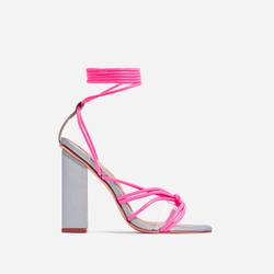 Neima Lace Up Square Toe Clear Perspex Block Heel In Reflective Silver And Pink Faux Leather