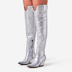 Rodeo Embroidered Over The Knee Thigh High Western Long Boot In Silver Faux Leather