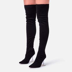 Trampoline Clear Perspex Pyramid Heel Over The Knee Thigh High Long Boot In Black Faux Suede