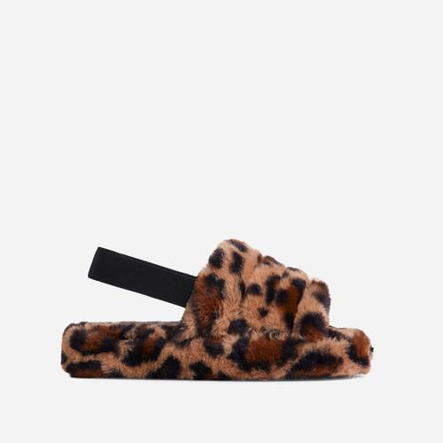 Boo Fluffy Stripe Slipper In Tan Brown Leopard Print Faux Fur