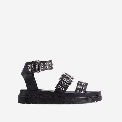 Julian Eyelet Detail Chunky Sole Flat Gladiator Sandal In Black Faux Leather