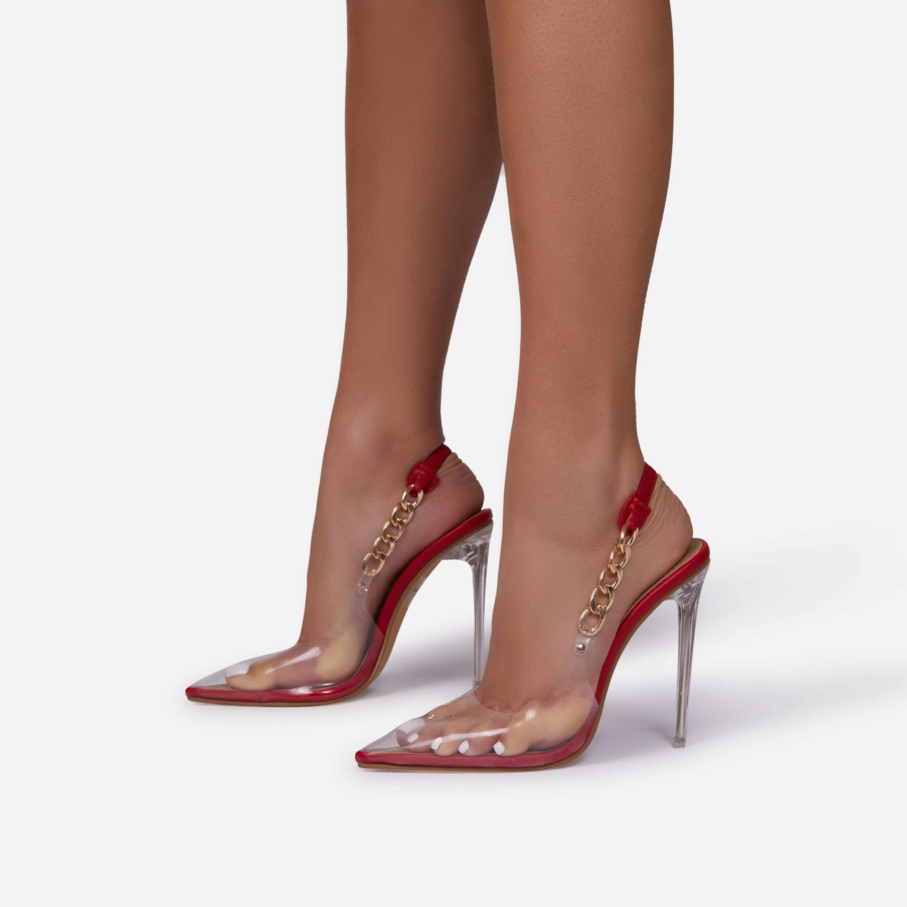 Martini Chunky Chain Detail Sling Back Clear Perspex Heel In Red Faux Leather