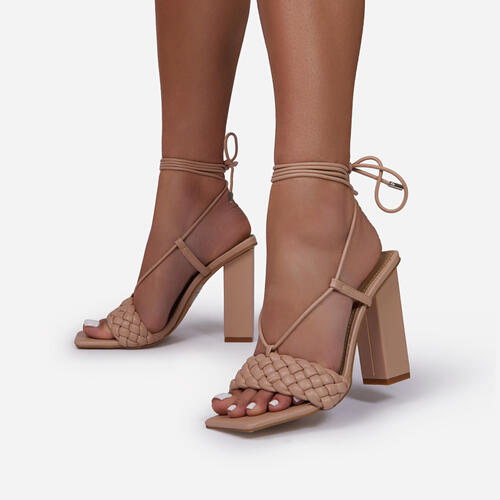 Pattaya Lace Up Square Toe Woven Block Heel In Nude Faux Leather