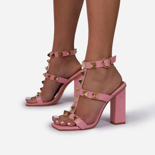 Malaga Studded Detail Caged Square Toe Block Heel In Pink Faux Leather