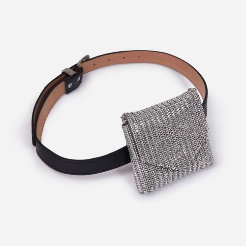 Silver Diamante Purse Detail Belt In Black Faux Leather