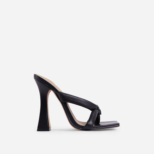Loyal Padded Cross Strap Square Toe Heel Mule In Black Faux Leather