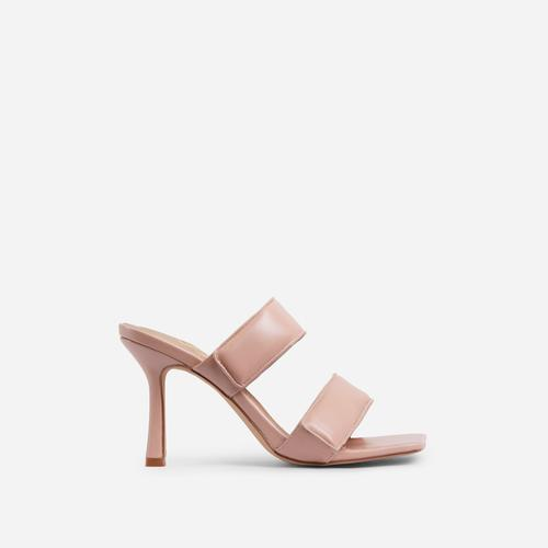 Thought-So Padded Strap Square Toe Heel Mule In Nude Faux Leather