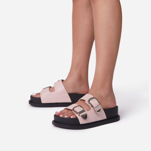Kym Buckle Detail Chunky Sole Flat Slide Sandal In Pink Faux Leather