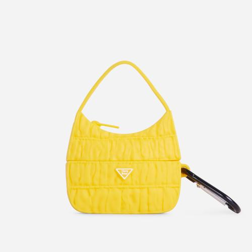 Ruched Bag Style Air Pod Case In Yellow Rubber