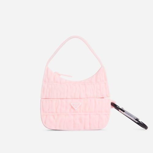 Ruched Bag Style Air Pod Case In Pink Rubber