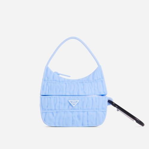 Ruched Bag Style Air Pod Case In Blue Rubber