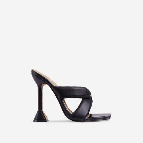 Next-Level Square Toe Twisted Cross Strap Sculptured Heel Mule In Black Faux Leather
