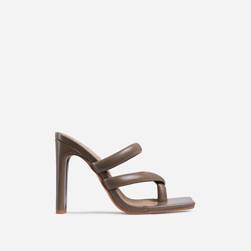 Fuji Square Toe Padded Strappy Think Block Heel Mule In Khaki Green Faux Leather