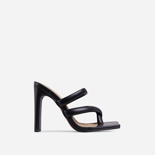 Fuji Square Toe Padded Strappy Think Block Heel Mule In Black Faux Leather