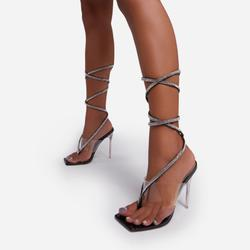 Obey Diamante Detail Lace Up Square Toe Clear Perspex Heel In Black Patent