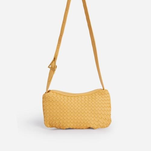 Thatch Woven Shoulder Bag In Yellow Faux Leather