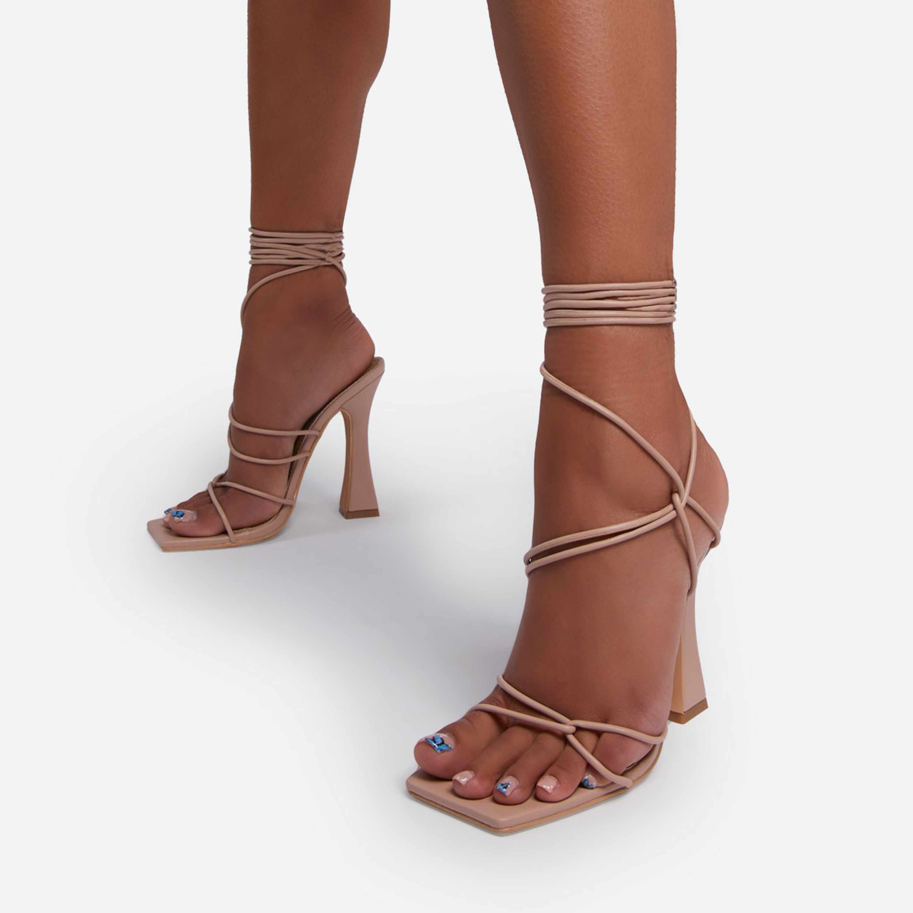 Seduce Lace Up Strappy Square Toe Curved Block Heel In Nude Faux Leather