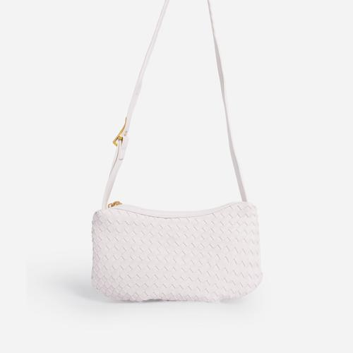 Thatch Woven Shoulder Bag In White Faux Leather