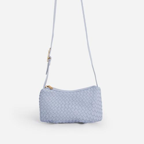 Thatch Woven Shoulder Bag In Blue Faux Leather