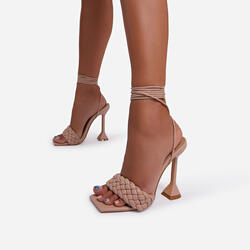 Master Lace Up Square Toe Woven Pyramid Heel In Nude Faux Leather