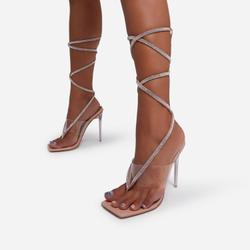Obey Diamante Detail Lace Up Square Toe Clear Perspex Heel In Nude Patent
