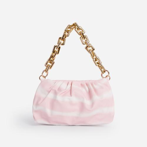 Margie Pouch Clutch Bag In Pink Tie Dye Faux Leather