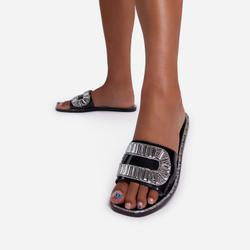 Winston Diamante Detail Flat Slider Sandal In Black Rubber