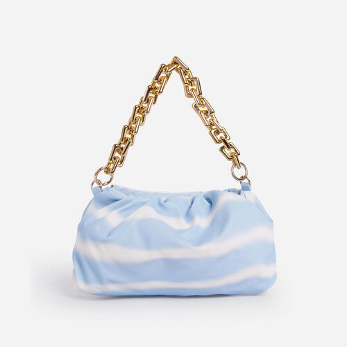 Margie Pouch Clutch Bag In Blue Tie Dye Faux Leather